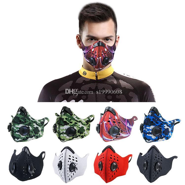 Индивидуальный Красочный Фильтр из активированного угля Спорта Загрязнения неопрена ткань Маски для лица против смога пыли Рот маски