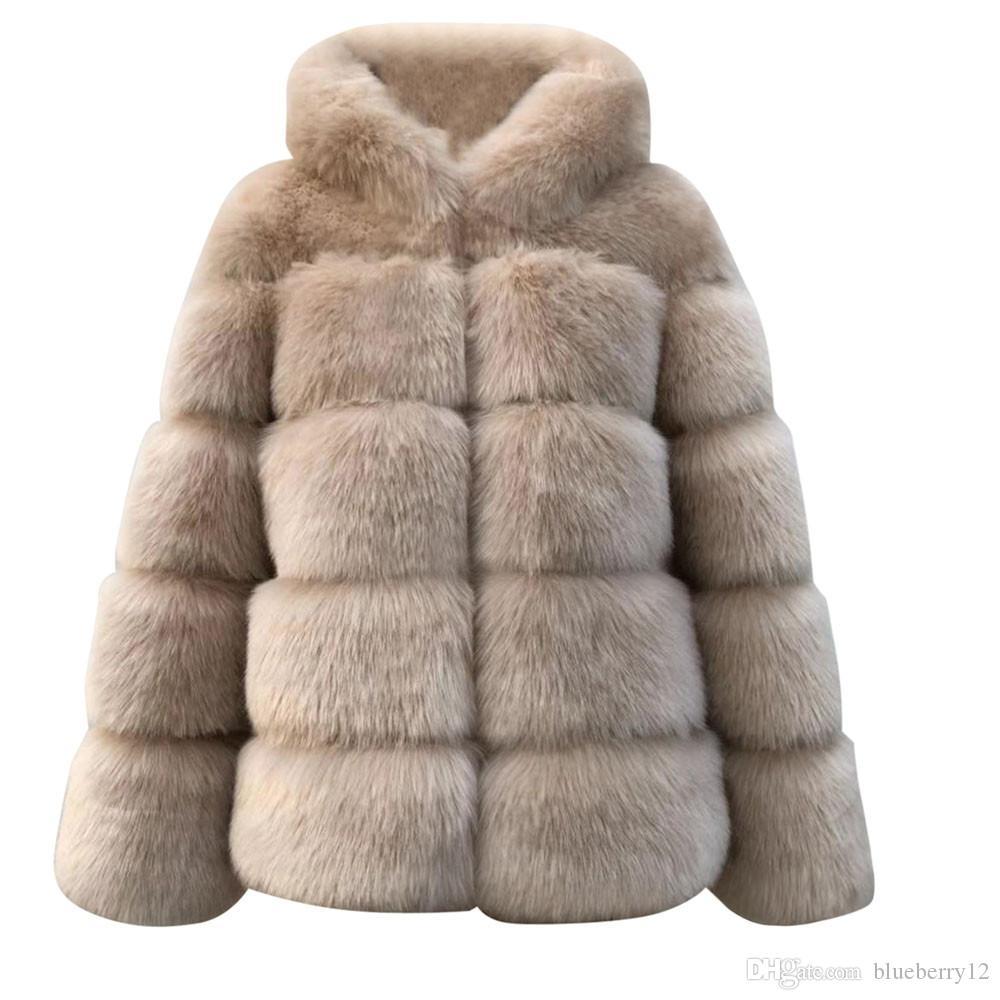 플러스 사이즈 고체 여성 가짜 밍크 겨울 후드 새로운 가짜 모피 자켓 따뜻한 두꺼운 겉옷 자켓 여성 겨울 따뜻한 코트