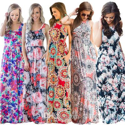 Hot selling Retro Women Maxi dresses Sexy Tank Dress China women clothes Manufacturer Wholesaler 2019 Summer Free DHL