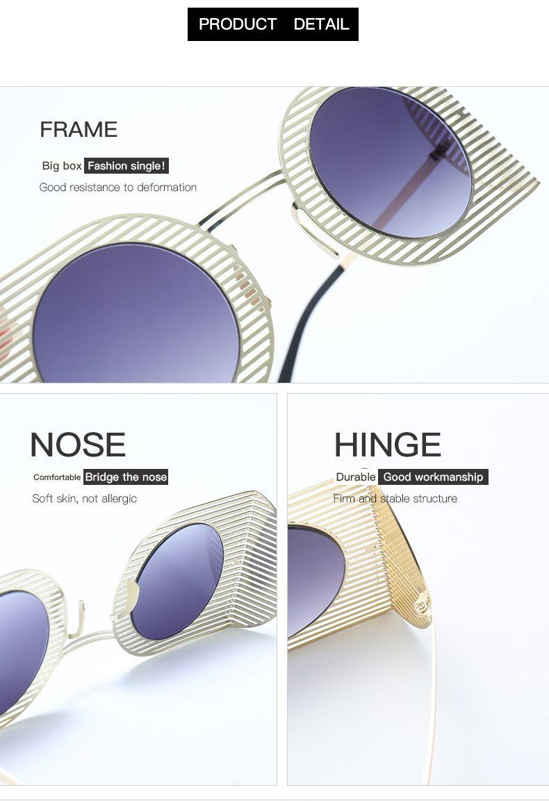 de alta qualidade estilo moeda transfronteiriça óculos de personalidade de moda malha óculos de pop punk do ouro frame grande fora de óculos componente