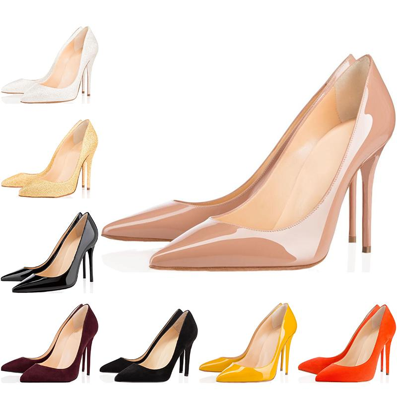 Christain Louboutin mujeres del diseñador de lujo zapatos rojos de tacón alto inferiores de 8 cm 10 cm 12 cm Desnudos cuero de los pies zapatos de las bombas de fiesta de la boda