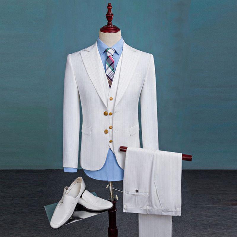 Erkek takım elbise üç parçalı takım elbise (ceket + pantolon + yelek) erkek moda Ince düz renk takım elbise düğün damat groomsmen elbise destek özel