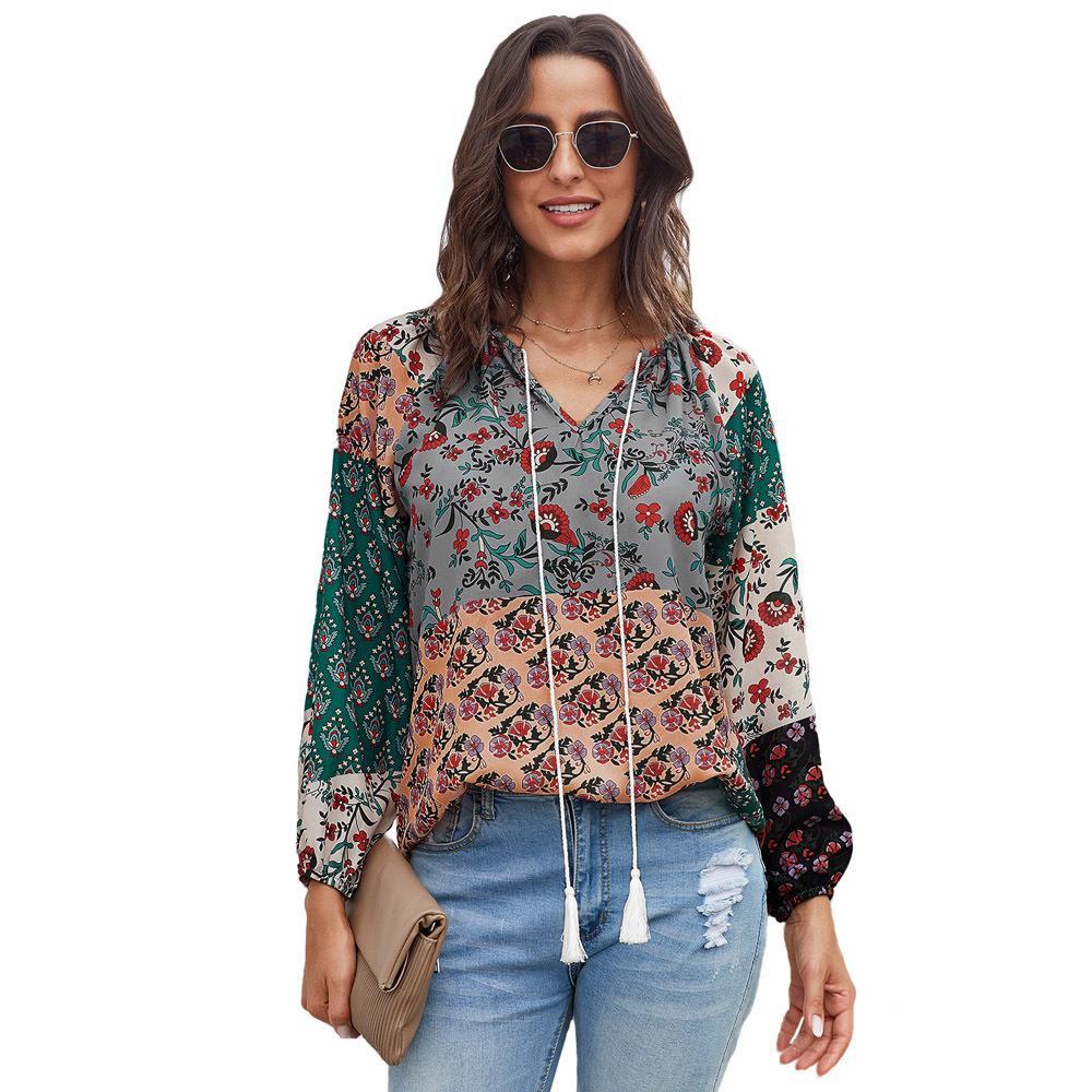 Yeni Sonbahar Baskılı Gömlek Bayan Yeni Avrupa Ve Amerikalı Kadın yuvarlak Boyun Uzun Kollu Gevşek-Fit Retro En Dış Ticaret