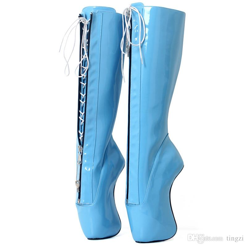 2019 New Women SKy Blue Boots Sexy Fetish Lace Up Zipper Strange High Hoof Heels Knee-High Boots Unisex Nightclub Party Shoes
