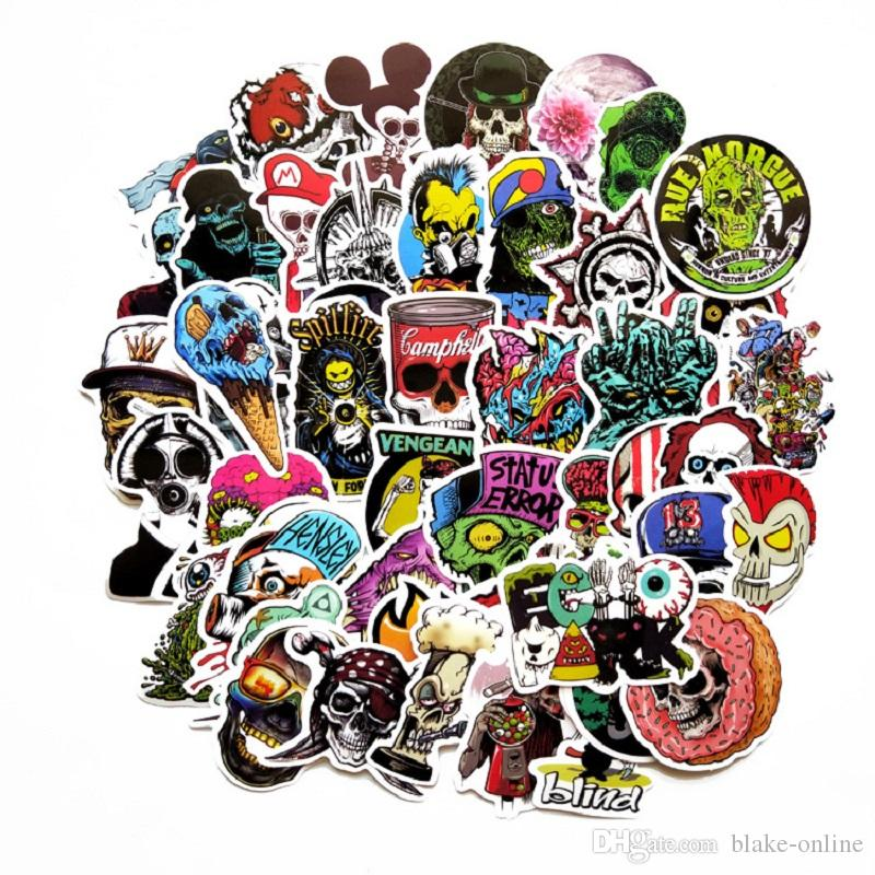 DHL wasserdicht kühler Aufkleber Satz 50pcs Zuckerschädel-Aufkleber-Abziehbilder für Kinder Laptop Autos Motorrad-Fahrrad-Gepäck Graffiti-Skateboard