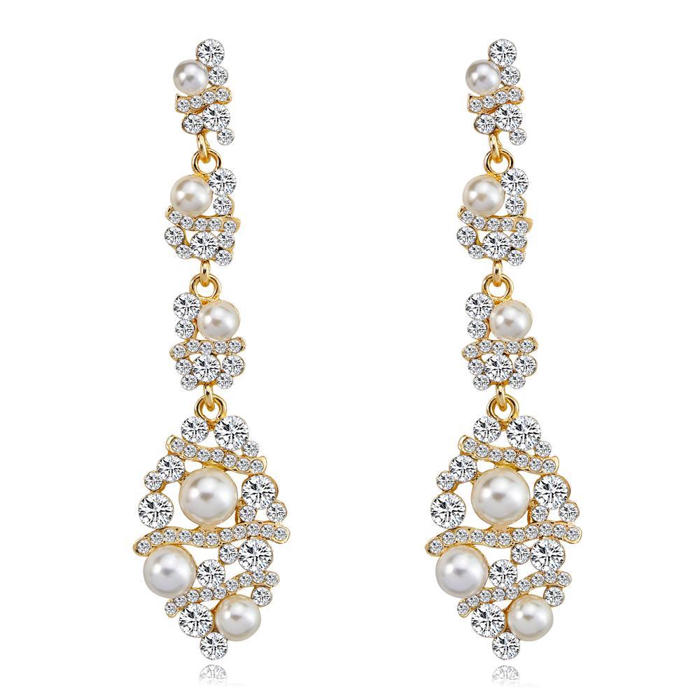 Cristales brillantes Moda Pendientes diamantes de imitación perlas de gota largos pendiente para las mujeres joyería nupcial de la boda regalo para las damas de honor BW-269