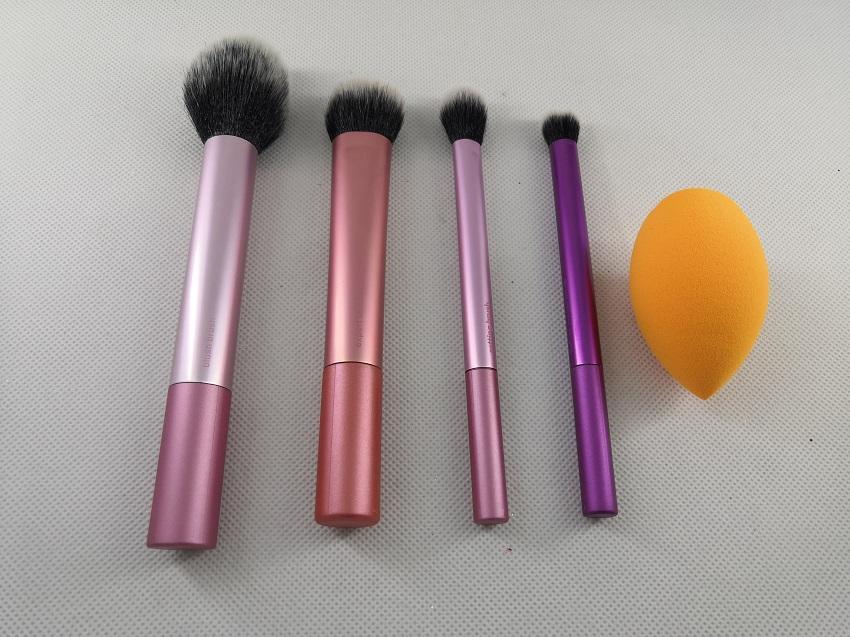 4 шт. / компл. + пудра макияж кисти набор профессиональных румян порошок брови тени для век губы нос розовое золото смешивания макияж кисти косметические инструменты