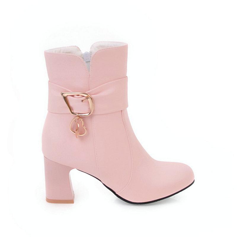Vendita calda-Donne Pu Stivaletti Spesso Tacchi alti Zipper rotonde Toe scarpe da donna Primavera Autunno Nero Rosa Bianco