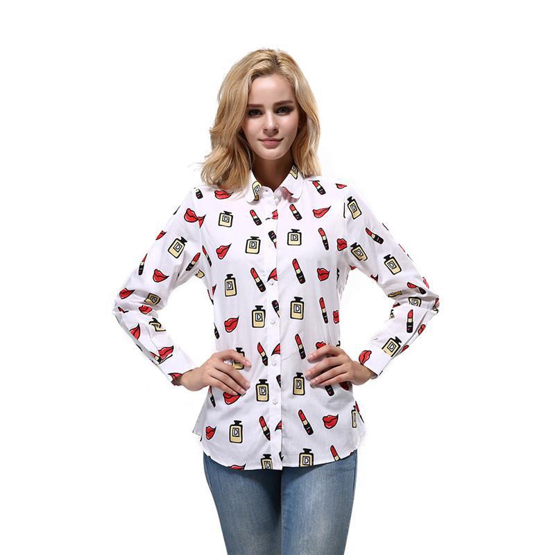 All Lipstick Perfume Print Womens Designer Shirts Fashion Long Sleeve Single Breasted Womens Shirts Casual Womens Clothing