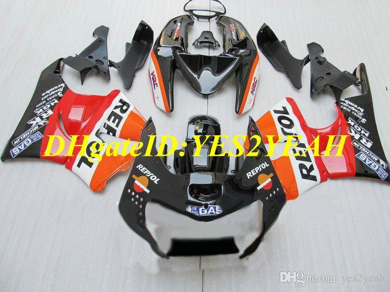 Top-rated Motorcycle Fairing kit for Honda CBR900RR 919 98 99 CBR 900RR CBR900 1998 1999 ABS Red orange black Fairings set+Gifts HS19