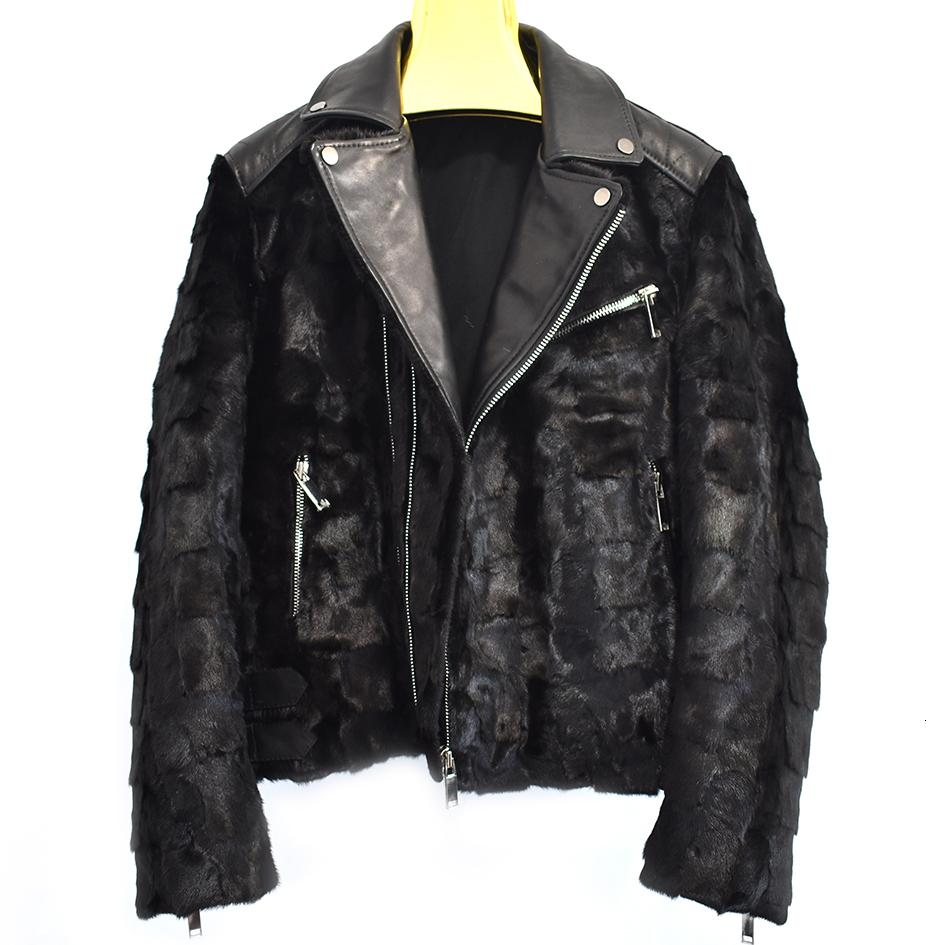 2018men's new natural mink fur real sheepskin motorcycle clothing motorcycle clothing autumn and winter warm casual European an T190917