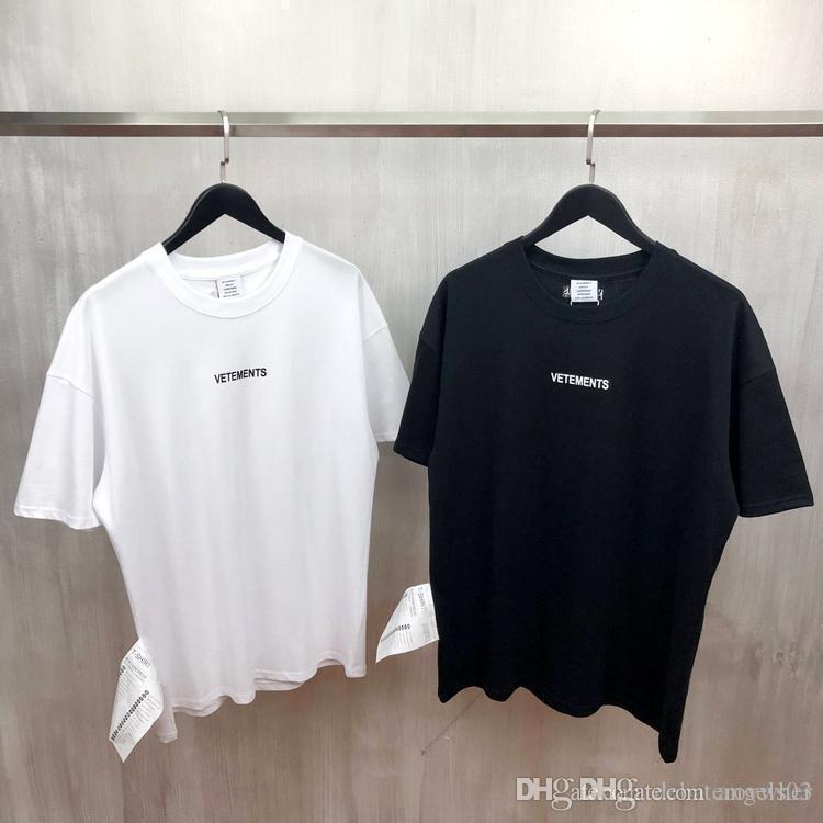 2019 nuevos VETEMENTS logotipo de la letra impresa en el pecho de algodón ronda cuello de los hombres y de las mujeres camiseta de manga corta XS-L