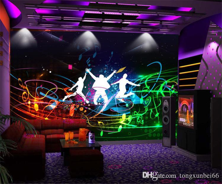 Walls 3D Ev Dekorasyonu Boyama için Bar KTV Duvar Resmi Koltuk Arkaplan Kaya Müzik Teması Duvar kağıdı Boyama Özel Çağdaş Moda Stil Duvar