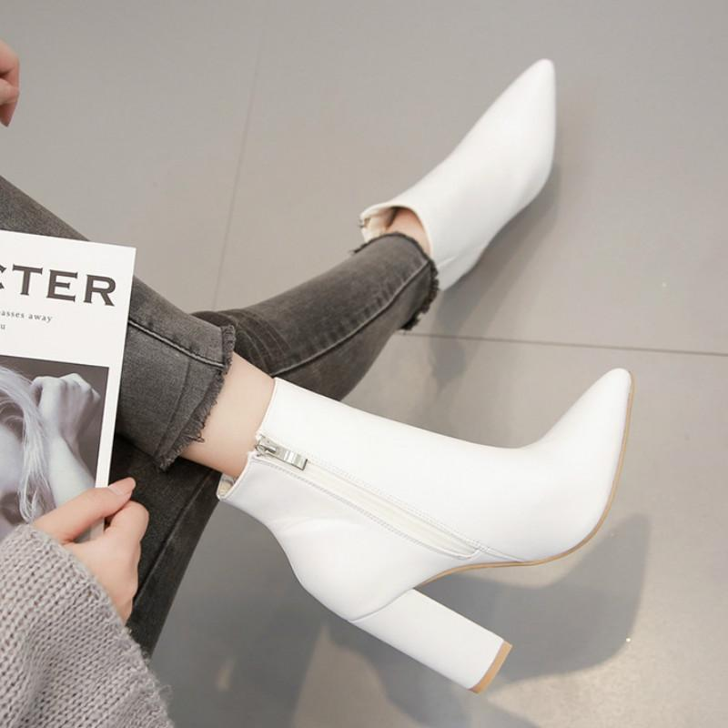 White Leather Ankle Boots For Women