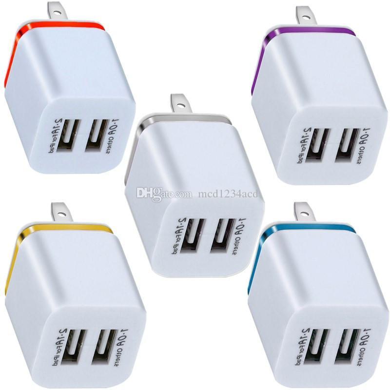 موانئ USB المزدوجة 2.1a الدائري المعدني الاتحاد الأوروبي الولايات المتحدة AC شاحن المنزل محول آيفون سامسونج S9 S10 ملاحظة 8 9 10 Huawei