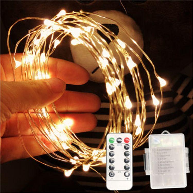 أدى ضوء تشغيل البطارية سلسلة مع الموقت عن بعد للماء الفضة الأسلاك النحاسية وامض سلسلة أضواء داخلية وخارجية dormito الزفاف