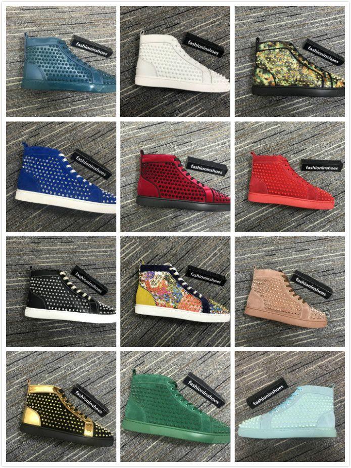 fashioninshoes Junior Spikes Orlato Sneaker uomo fondo piatto in pelle scamosciata rossa con borchie scarpe con suola rossa Rivetti cc taglia 35-47 prezzo all'ingrosso