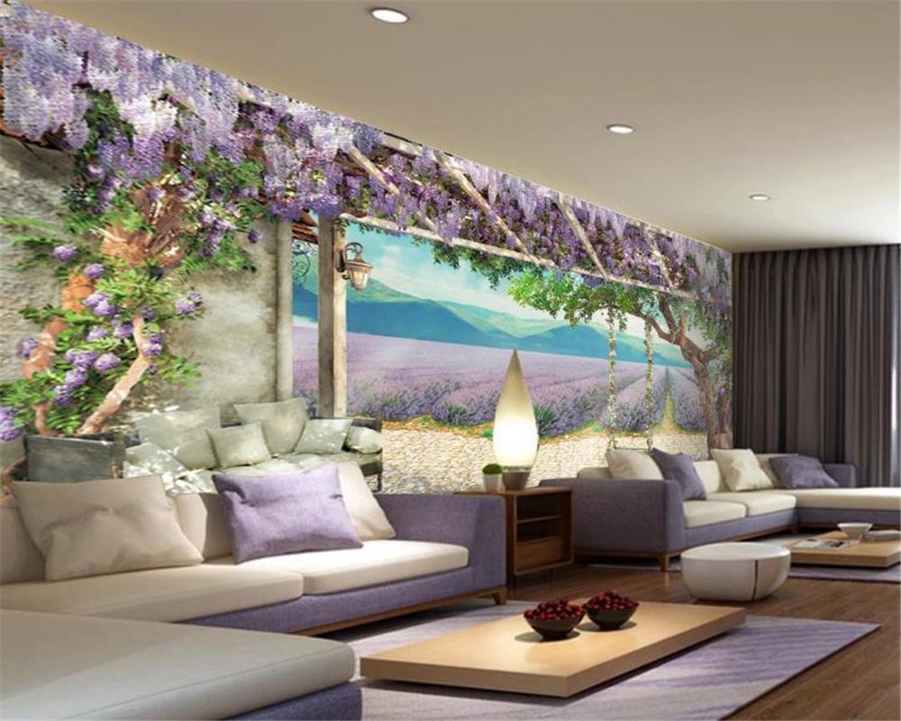3d mur papier pour Salon Belle fleur fond Swing Cadre de lavande mur Peinture sur soie Fond d'écran