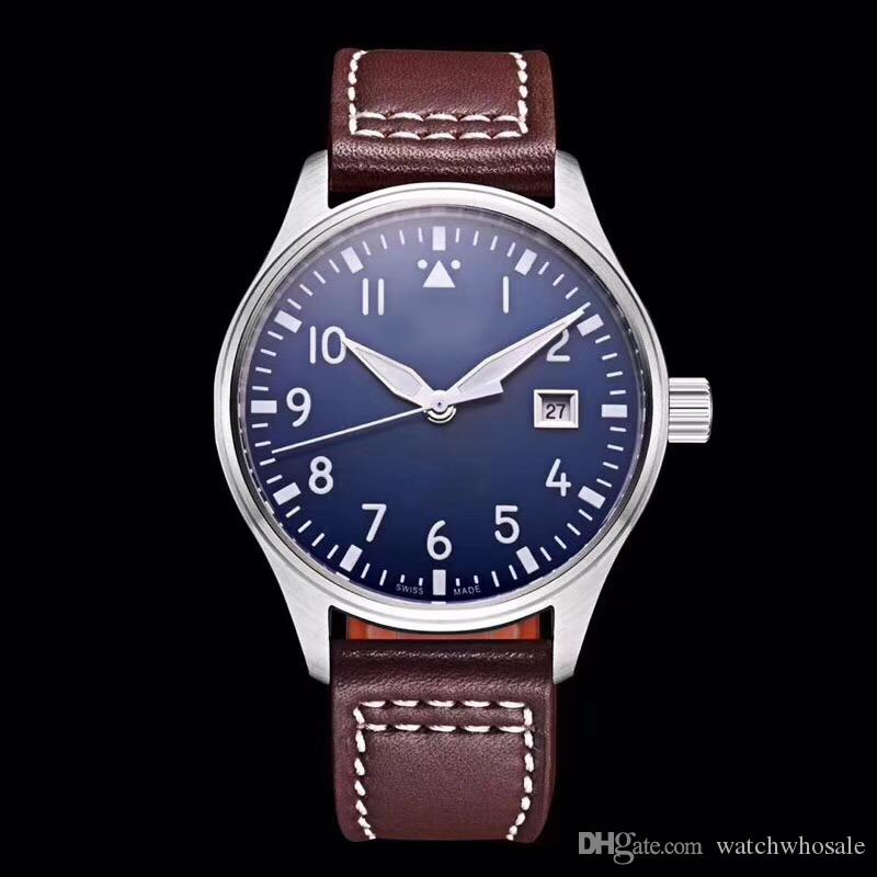 Топ мужские часы Pilot MARK XVIII IW327004 40 мм синий циферблат коричневый кожаный ремешок автоматические механические мужские часы