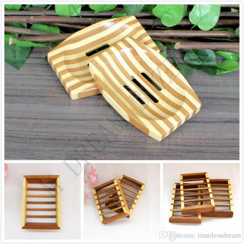 Натуральный бамбук Деревянной мыльница Деревянной Мыльницы держатель для хранения мыла стойки Plate Box Контейнер для ванны для душа ванной