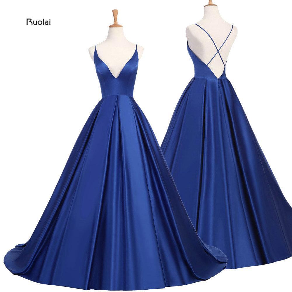 Royal Blue Сексуальное атласное вечернее платье 2019 Длинные платья для выпускного вечера Вечерние платья Вечернее платье с открытой спиной Robe De Soiree Y19042701