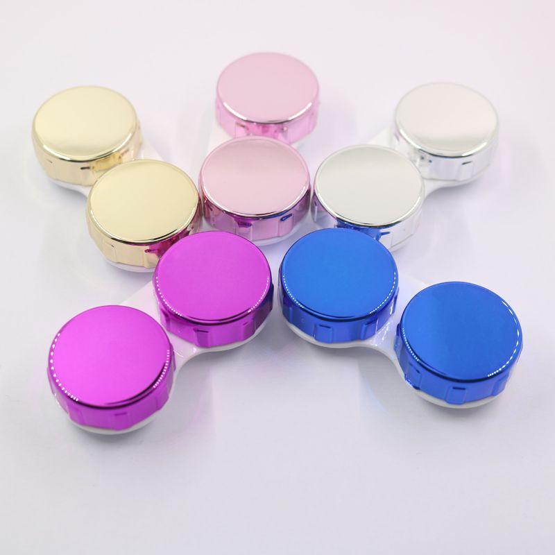 LC02 Gloosy Coloré Lunettes Accessoires En Plastique Portable Titulaire Lentille De Contact Cosmétique Boîte De Contact