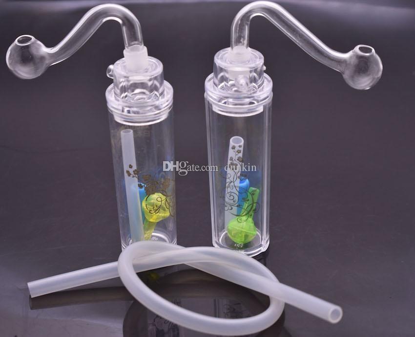 Мини-пластик Beaker Bongs водопроводы 10мм Женского Joint Дешевого пластиковый мазок нефтяных вышки мини кубки затяжки с трубой 10мм масла горелки