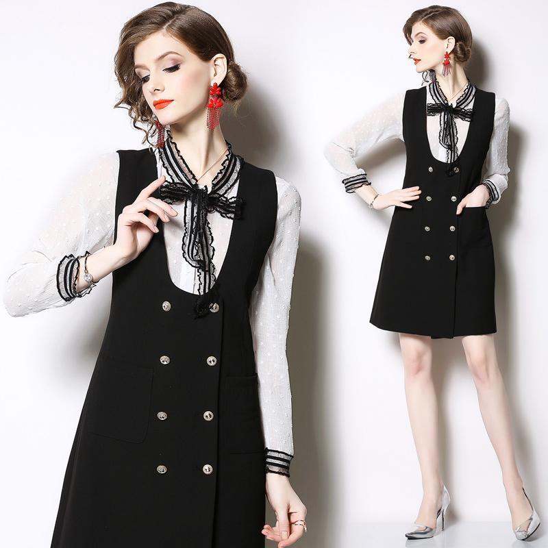 Mulheres vestido elegante Lady Trabalho desgaste do escritório Vestido Preto Blusa branca Two Pieces Define Suits 2 Piece Set 9708
