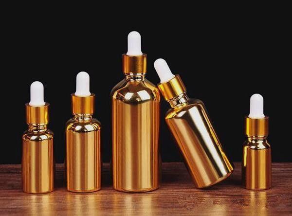 2019 venta caliente 5 ml botella de cristal del cuentagotas del oro con el casquillo del oro perfume del aceite esencial botella cosmética de oro del cuentagotas