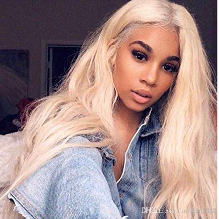 8A Brazilian Virgin Hair Straight Lace Front Wigs #613 Blonde for Women with Baby Hair Honey Blonde Human Hair Natural Looking