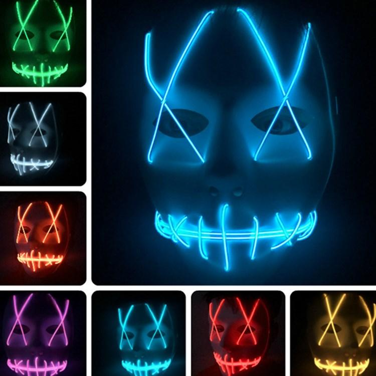 2020 new Halloween mask LED haunted house ghost horror mask shuffle dance cold light party masks T2I5039