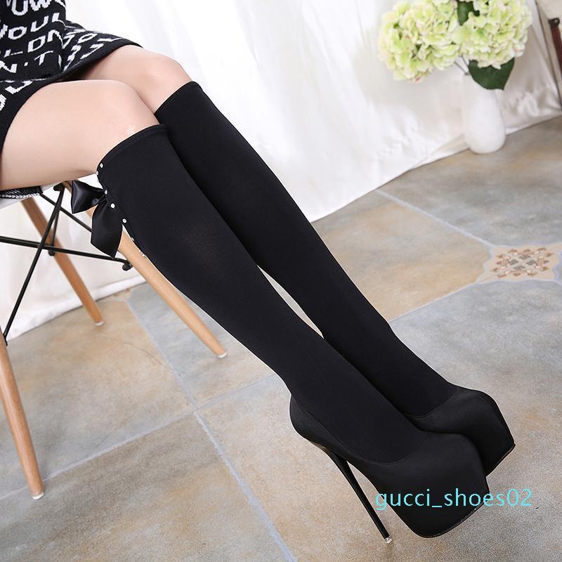 elegant bowtie black elastic over the knee thigh ultra high heel platform shoes 16cm size 34 to 40 g02