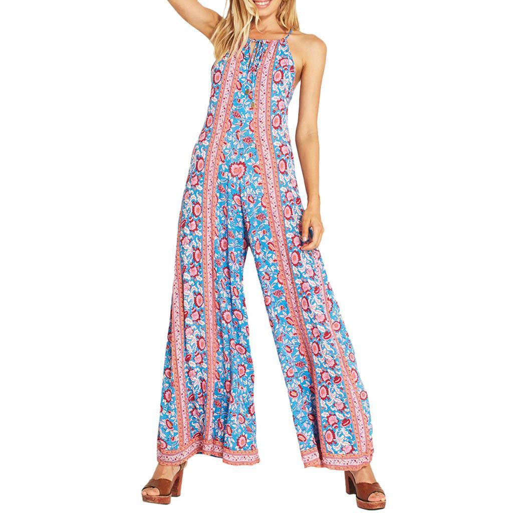wholesale Plus Size Women Sexy Jumpsuit Fashion Print Bohemia Camis Long Loose Jumpsuit Bodysuit Casual Sleeveless Jumpsuit Fe13