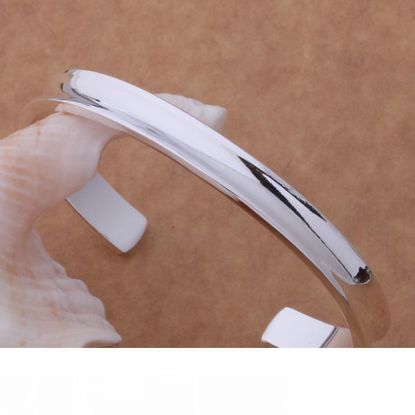 Бесплатная доставка с номером отслеживания Лучший новый стерлингового серебра 925 большой гладкий широкий манжеты браслет браслеты 7 мм Рождество GIFTJEWELRY 1313