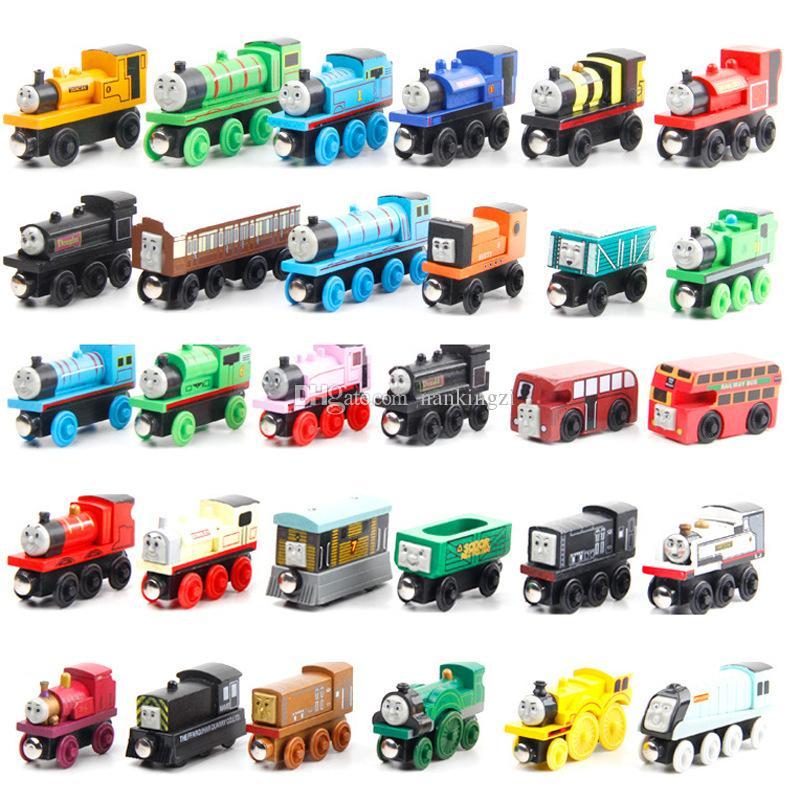 Modèle Cartoon Bois Toy Train, Mini Taille, 59 Styles, Compatible avec train piste, pour la fête de Noël Kid cadeau d'anniversaire, Ornement Accueil, 2-1