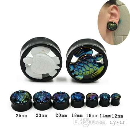 1 개 쌍의 UV 아크릴 RainbowWhite 귀여운 거북이 유기 귀 터널 더블 플레어 귀 테이퍼 들것 플러그 Gauges10mm-25mm