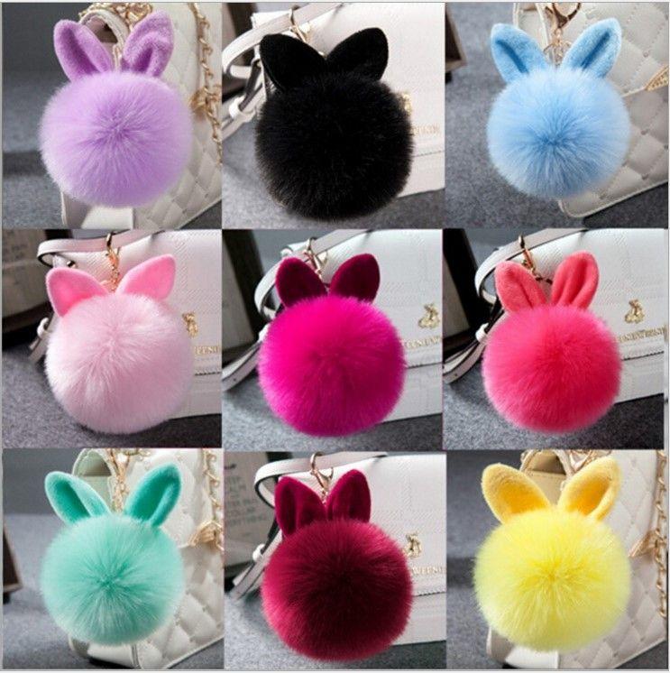 DHL Hot Cute Fluffy Rabbit Ear Fur Ball Key Chain Rings Pendant Lovely Pompom Artificial Rabbit Fur Keychain Bag Key Ring