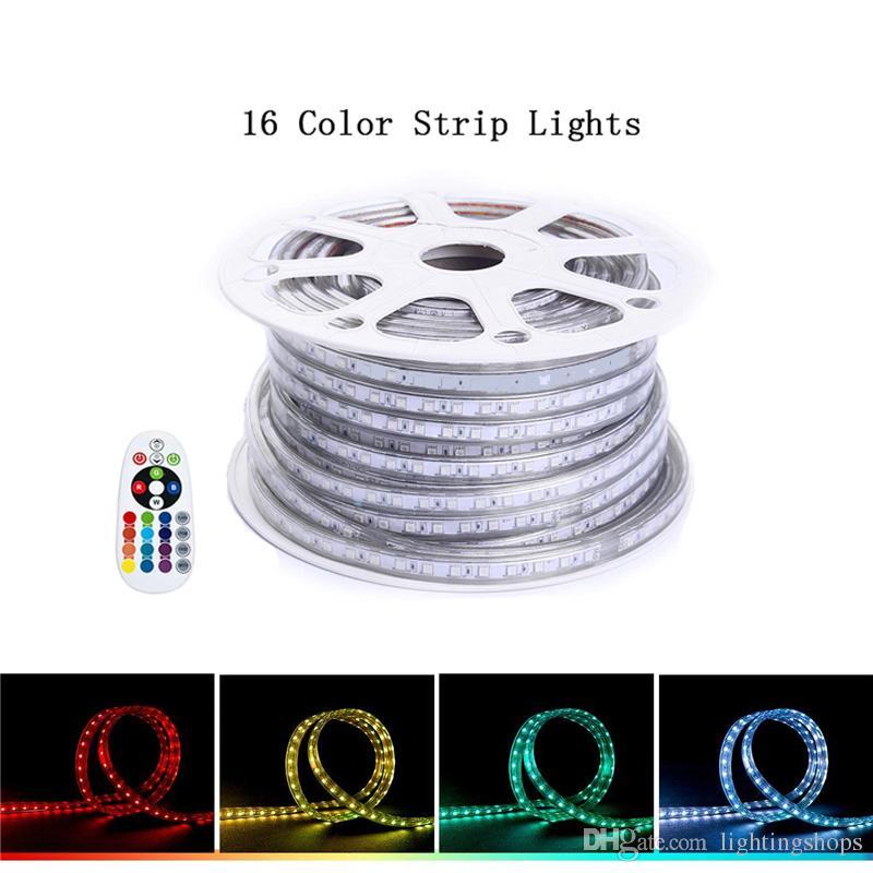 Led luz de tira Waterproof Rope LED SMD 5050 Iluminação Mudando a cor do Kit completa 110V 220V RGB Tape Luz para Home Ourdoor Building Decoração