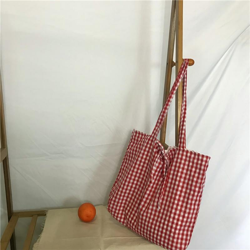 Wild2019 Chalaza Ins Lattice Single Shoulder Package Shopping Bandage Double-deck Canvas Bag School Wind Woman