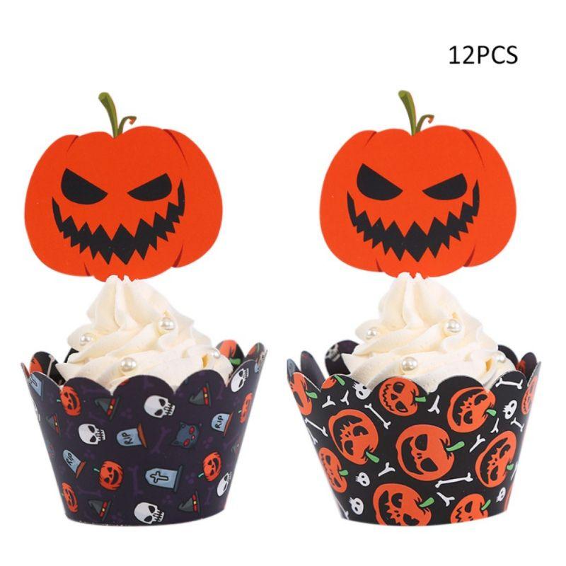 Confezione da 12 Halloween Cupcake Toppers e carte di partito di festa torta che decora Forniture toppers Cupcake halloween e involucri