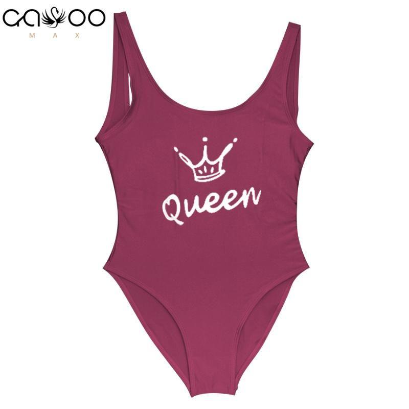 Lettera Corona regina un pezzo costume da bagno per le donne sexy perizoma Costume da bagno Costume intero 2018 Female Swimwear tuta Badpak