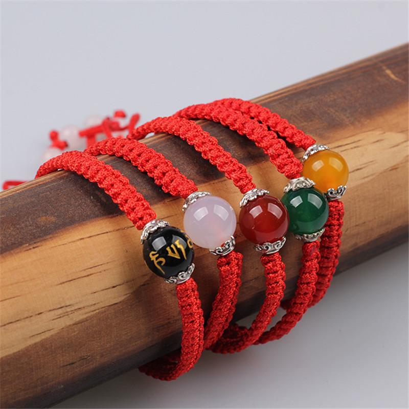 Sangsy 2020 Neue Natursteinperlen Rot Schwarz-Seil-Armband für Frauen handgemachtes Armband-Wachs-Schnur-Amulett Schmuck