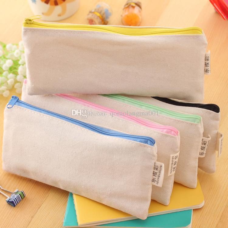 20.5*8.5cm DIY White canvas blank plain zipper Pencil pen bags stationery cases clutch organizer bag Gift storage pouch 5colors