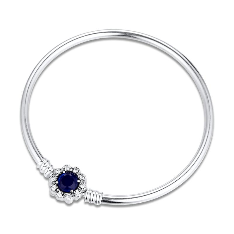 Bangles Silver 925 Jewelry Blue Big Stone Clasp Bangle fit Charms Beads DIY for Women Gift free shipping B099