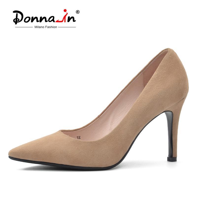 دونا في مثير رقيقة عالية الكعب مضخات النساء جلد طبيعي عرس حزب أحذية الربيع زائد الحجم 42 طفل الطبيعي الجلد المدبوغ أحذية السيدات