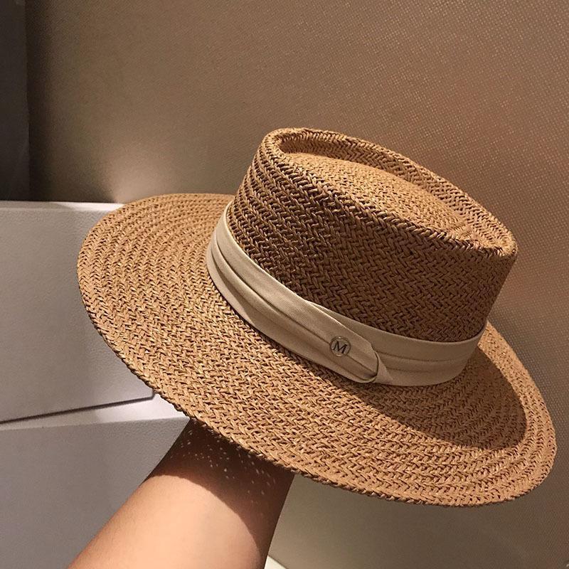 Verano mujeres de los hombres hechos a mano sombreros de paja de ala ancha de moda techo plano formal de vacaciones Sombrero Parasol Protector solar Playa Sombrero de sol