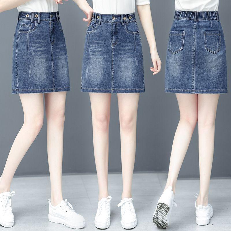 W13E7 oayzm Denim Aline Denim jupe courte jupe style été anti-exposition coréenne 2020 été taille haute robe noire Aline mode demi-lengt