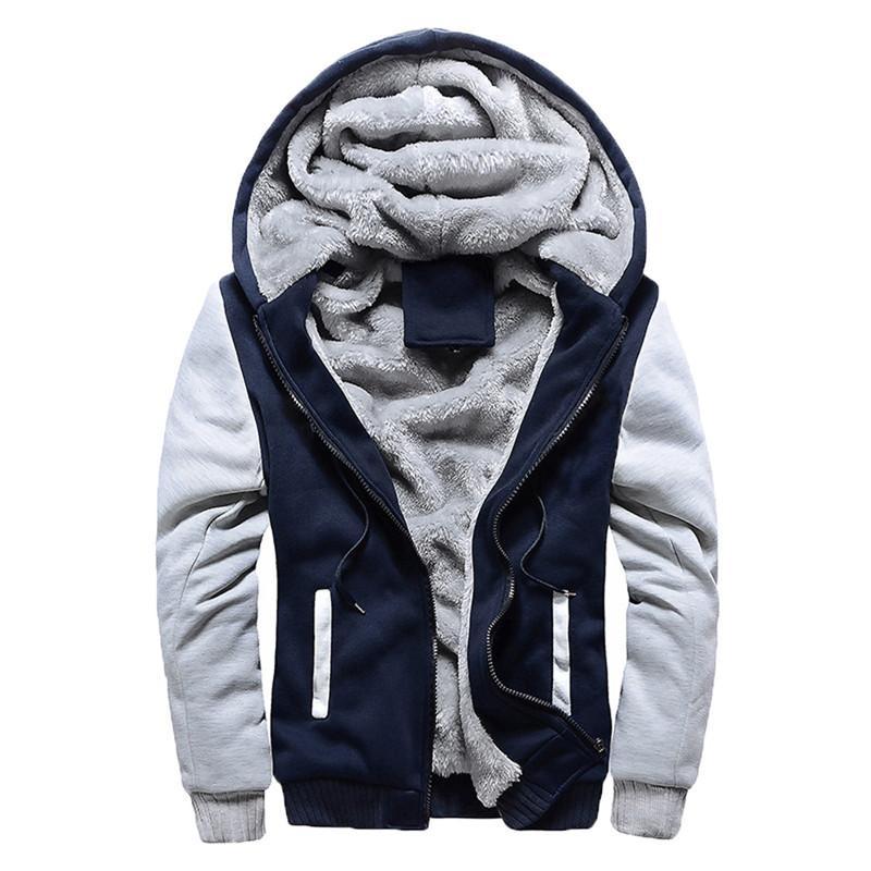 Kış Kalın Kapüşonlular Erkekler Fermuar Kapşonlu Coat Marka Erkek Eşofman Kazak Patchwork Ceketler ABD ısıtın / EUR Artı boyutu Fleece Hoody