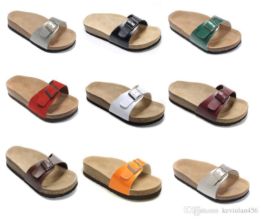 hotsell del cuero auténtico zapatillas para hombre sandalias planas de las mujeres zapatos de un diseño de moda de Arizona Beach hebilla de Verano de calidad superior con la caja de Orignal
