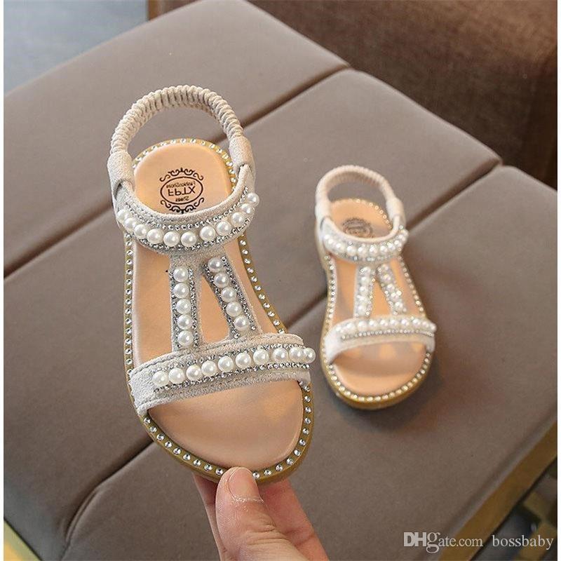 Meninas do verão Princesa Sandálias elástico Sandals Meninas Pérola Decoração único sapatos Desempenho miúdos Tênis 07